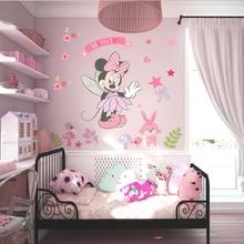 Sevimli karikatür Minnie duvar Sticker çocuklar için bebek yatak odası dekoru kreş duvar duvar çıkartmaları