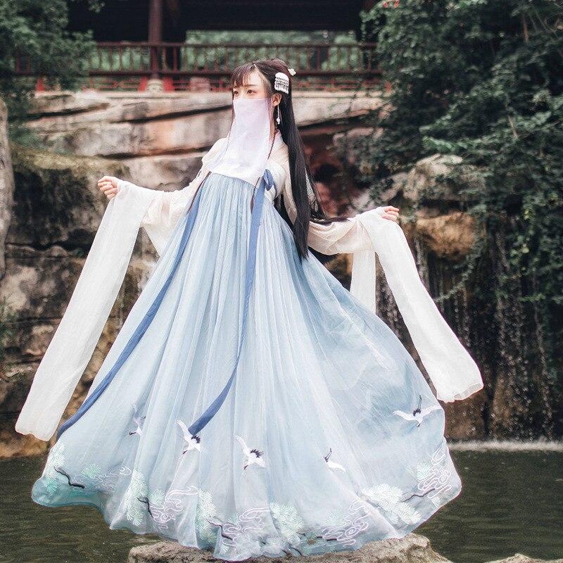 Китайский стиль Hanfu, Национальный стиль, новый стиль, для взрослых, студенток, фея, весна и осень, фото, сценическая одежда