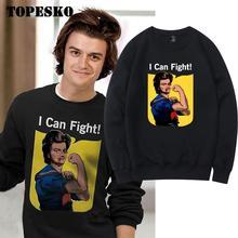 TOPESKO Stranger Things Steve Hoodies Mens I Can Fight Casual Oversized Pullover Sweatshirt Long Sleeve Harajuku XXXL Hoodie