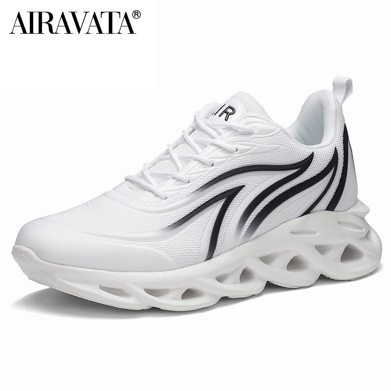 White-Men's Flame Printed Sneakers Flying Weave Comfortable Running Sports Shoes