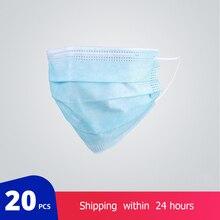20 قطعة/الحقيبة الغبار التنفس حماية للجنسين الفم قناع المتاح غير المنسوجة أقنعة ثلاثة طبقة تصفية مكافحة قناع وجه للغبار