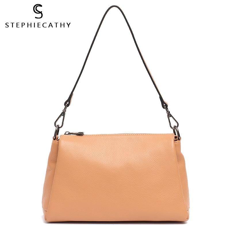 SC Fashion Real Leather Shoulder Bag For Women Designer Handbag Ladies Genuine Leather Messenger Bag Chic Female Crossbody Purse