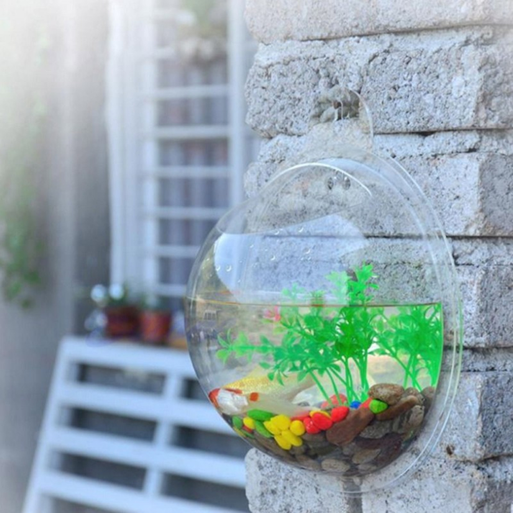 2 Sizes New Acrylic Bowl Bubble Transparent Plant Fish Tank Flower Round Vase Pot Wall Mounted Hanging Aquarium Home Decoration