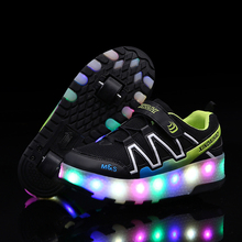 Модная детская обувь для катания на роликах; Детские кроссовки с двумя колесами для мальчиков и девочек; спортивная обувь на открытом воздухе; Heelys; светодиодный мигающий туфли со светодиодами
