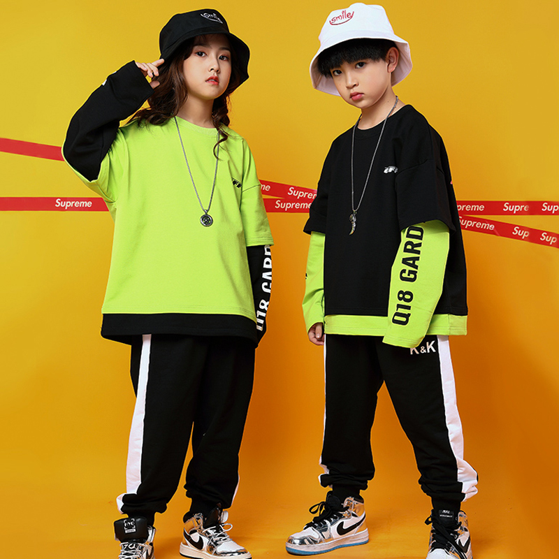 Green Jazz Dance Costumes Kids Stitching Street Dance Practice Performance Clothing Loose Hip Hop Rave Outfit Casual Wear DC3221