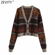 Zevity Women Vintage Patchwork Print Jacquard Knitting Sweater Female Chic Floral Appliques Breasted Cardigans Casual Tops S573