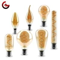 Bombilla LED de filamento retro, luz vintage Edison, E14, E27 en espiral, amarillo cálido, 4W, 220V, C35, A60, T45, ST64, T185, T225, G80, G95, G125