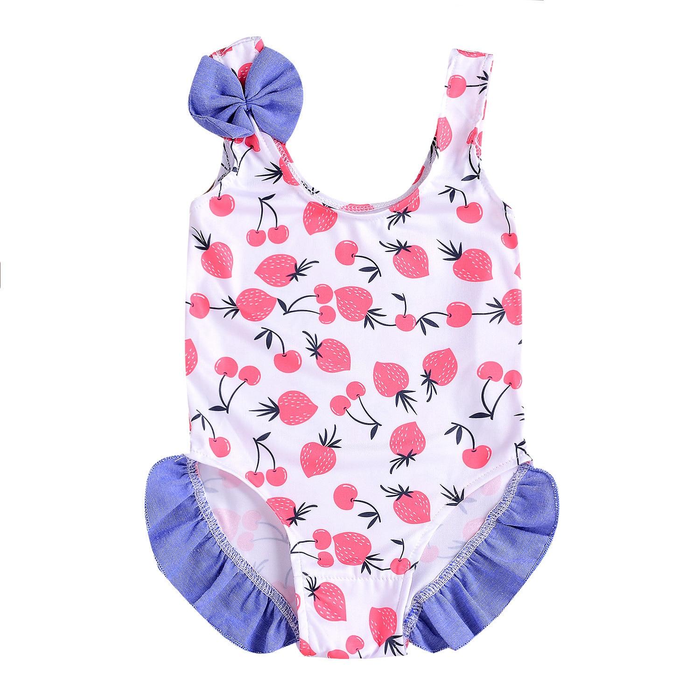 Childrenswear Summer GIRL'S Swimsuit Sleeveless One-piece Swimming Suit Printed Frilled KID'S Swimwear