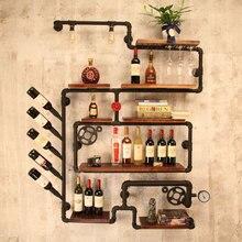 coffee shop bar wine cabinet wine rack Loft retro industrial style shelving shelf wall iron solid wood pipe wall hanging
