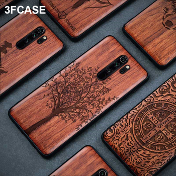 Shockproof Real Wood TPU Bumper Case For Xiaomi Redmi Note 8 Pro K20 Pro Note 7 Pro Case Luxury Wooden Full Cover Silicon Funda