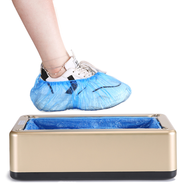 Household Automatic Shoe Cover Dispenser Machine Shoe Covers Machine Home Office One-time Film Machine Foot Set New Shoes pink