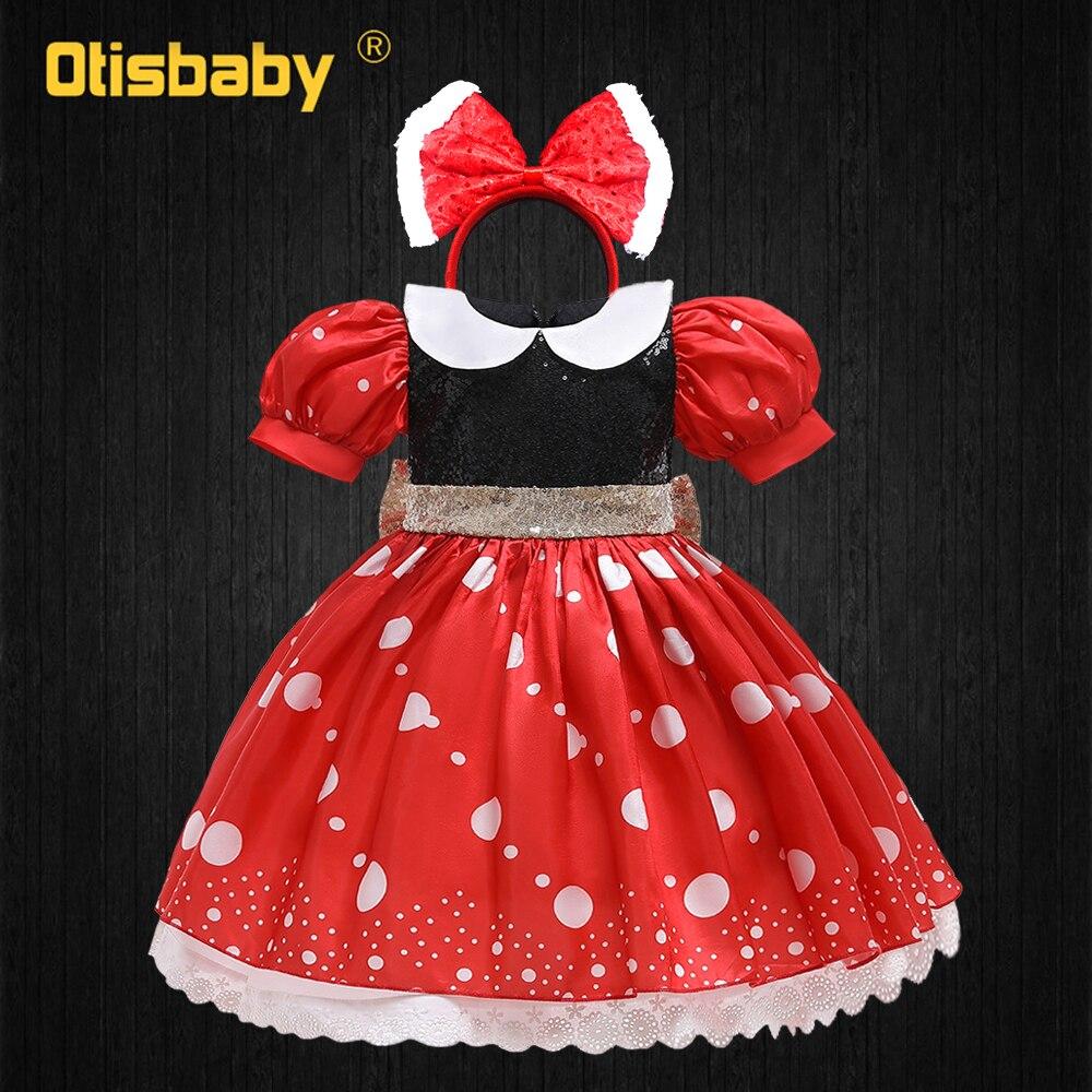 Robe Tutu rouge à pois pour filles, tenue mignonne Mickey et Minnie, avec gros nœud, bandeau, robe d'été pour anniversaire de 1 an