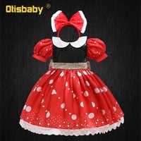Rojo lunares tutú Dot vestido para las niñas lindo bebé niña Mickey Minnie vestido lazo grande diadema de verano 1 año vestido de cumpleaños vestidos para bebé