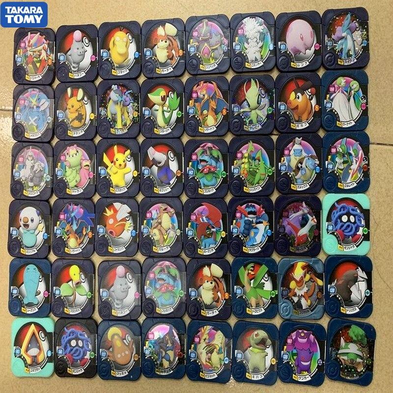 TAKARA TOMY Pokemon Tretta Round Cards Identity PVC Shining Card Plastic Flash Cards Black Card For Children Toys Gifts