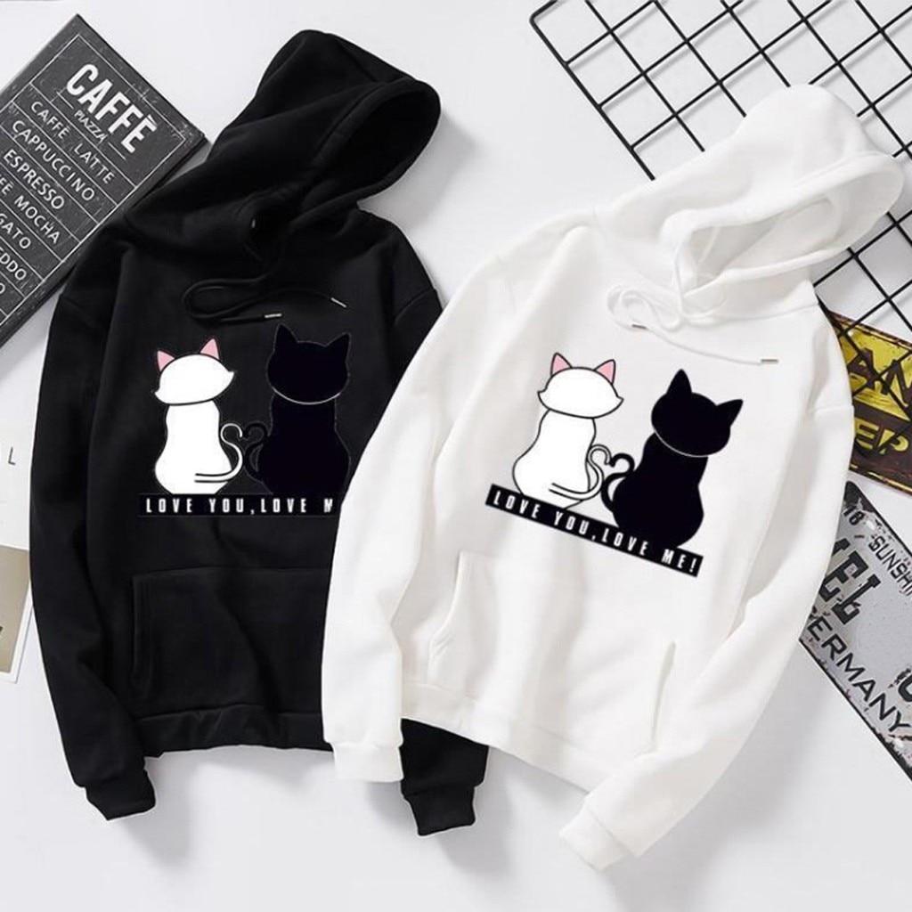 Hoodies Unisex Black White Couple Cat Hoodie Jumper Men Women Casual Long Sleeve O-Neck Cat Printed Sweatshirt Pullover#G8