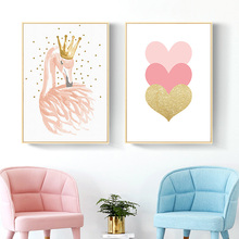 Wall Pictures for Kids Rooms Nordic Nursery Art Swan Cartoon Canvas Painting Pink Heart Poster Little Princess Unframed