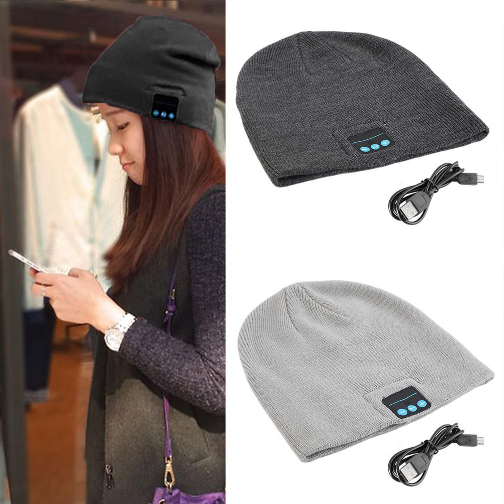 Unisex Smart Wireless Bluetooth Music Winter Warm Knitted Beanie Hat Headphones Cap With Handsfree Earphone Cheap