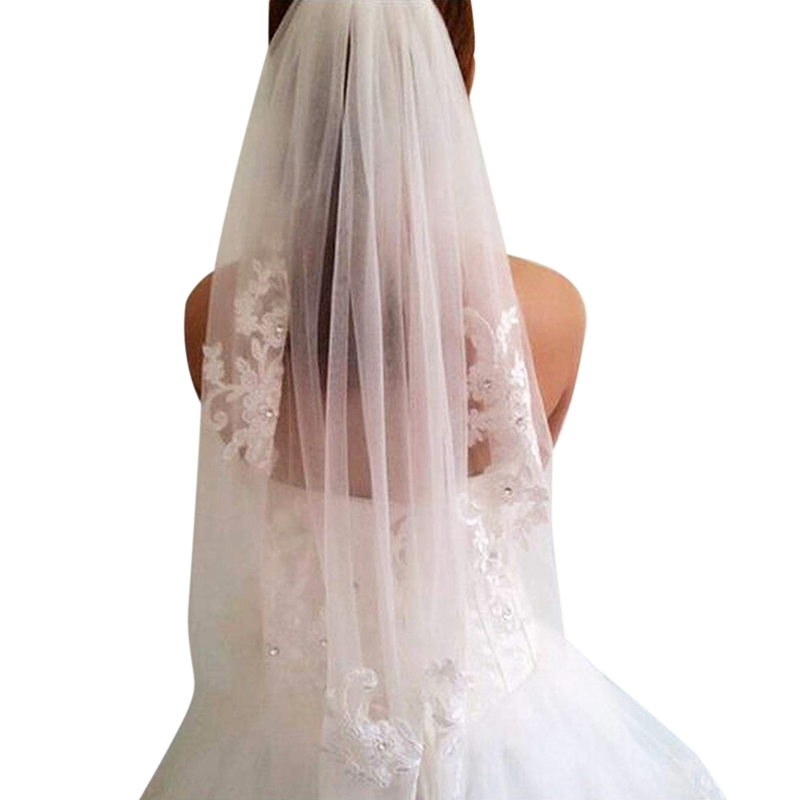 Wedding Veils Bridal Veils Short One Layered Waist Length Beaded Diamond Applique White