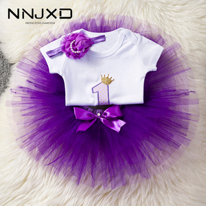 Flower Headband Short Sleeve Top and Tutu Dress Outfits 3pcs for 1 Year Baby Girls First Birthday Party Cotume Newborn Clothes