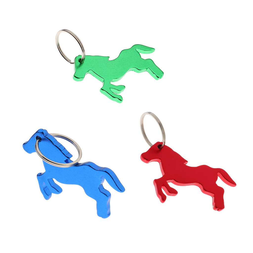 3Pcs Alloy Horse Pattern Bottle Opener / Key Ring Keychain Bag Pendent Novelty Gift