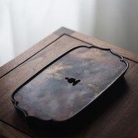 LUWU copper and ceramic tea trays tea table handmade serving tray wood tea table accessories