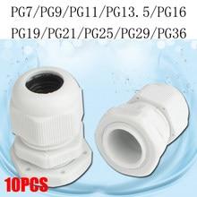 Connecteur de glande de câble plastique en Nylon étanche, IP68 PG7 pour 3-6.5mm PG9 PG11 PG13.5 PG16 PG19, CE blanc noir, 10 pièces