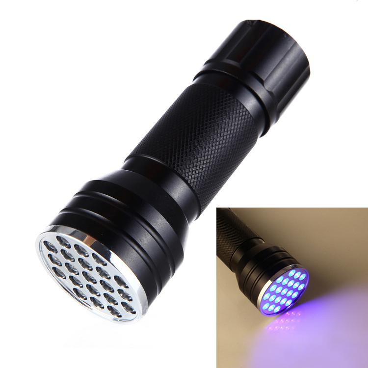 21 LEDs <font><b>UV</b></font> Ultra Flashlight <font><b>395</b></font> <font><b>nM</b></font> <font><b>UV</b></font> Ultra Violet Blacklight Flashlight For CSI Inspection Light Drop Shipping image
