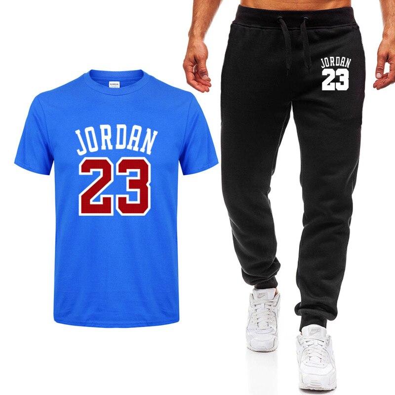 2020 Men's Sets T Shirts+pants Two Pieces Sets Casual Tracksuit Men/Women Jordan 23 Suit Print Tops+Pants Gyms Fitness Trousers