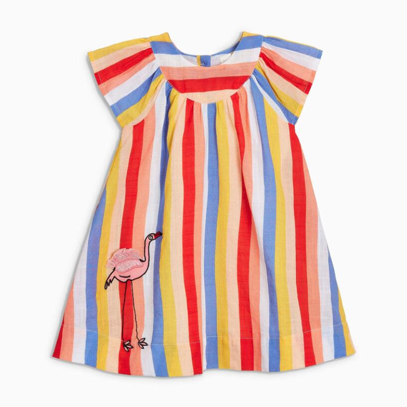 Little Maven 2020 New Summer Baby Girls Clothes Brand Dress Kids Cotton Colorful Striped Animal Short Sleeve Dresses S0688