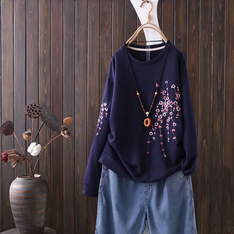 Floral Embroidery Long Sleeve O-Neck Sweatshirt 2
