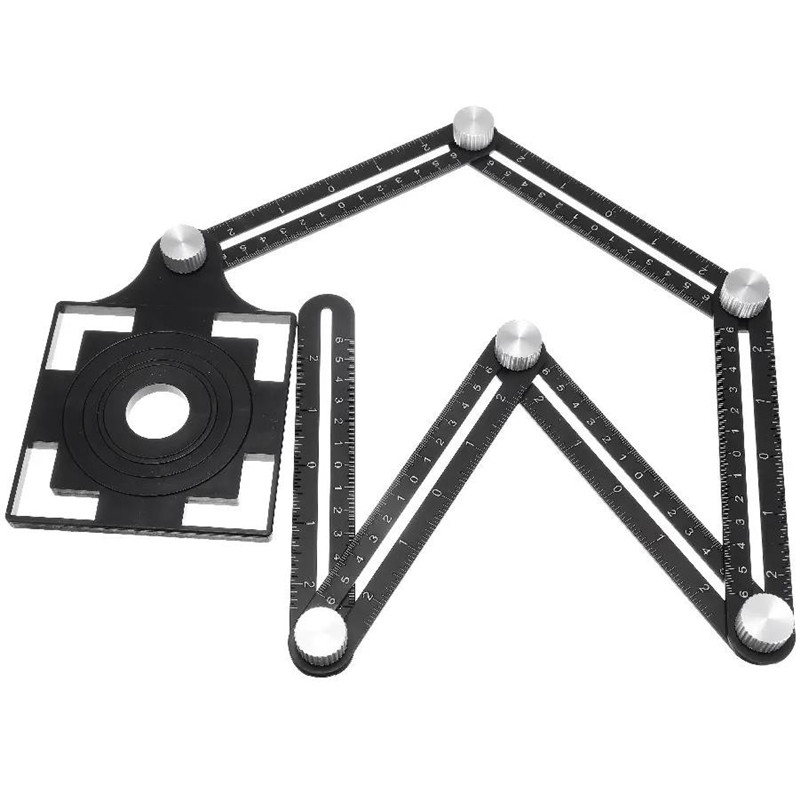 Adjustable Six Fold Tool Ruler Drill Guide Opening Ceramic Tile Hole Locator Universal Hole Punch 25/40/45/55/75mm Drill Guide
