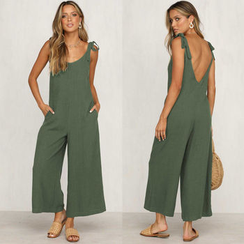 O Neck Casual Backless Overalls Trousers Jumpsuit Women Summer Loose Sleeveless Rompers Wide Leg Pants 4 Color S-XL casual sleeveless round neck detachable women s jumpsuit