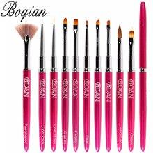 BQAN 10pcs Nail Brush Gel Brush Draw Tips Drawing Liner Painting Acrylic Brush For Manicure Nail Art Brush Decoration