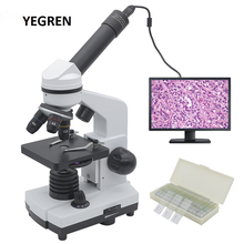 Digital Microscope Eyepiece Electronic Monocular Led-Lamp 1600X 50-Slides Student 2MP