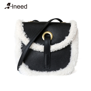 ALNEED Genuine Cow Leather Saddle Bags for Women 2020 Lamb Wool Luxury Design Shoulder Bags Winter Purse Clutch Crossbody Bag