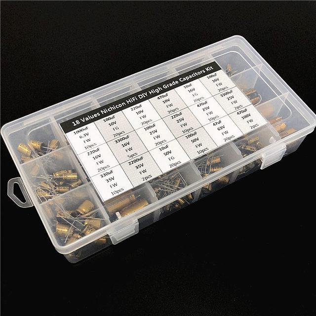 18値ニチコンfw/fg hifi diy高グレードオーディオコンデンサ各種キットboxアソート6.3v〜100v、10 μ fの〜3300uf合計241個