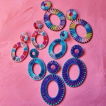 Best lady Raffia Handmade Drop Earrings Women Girls Party Gifts Bohemian Colorful Female Wedding Statement Accessories