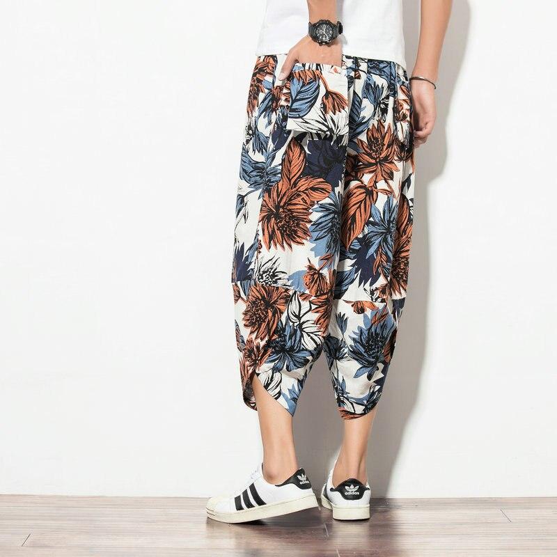 Chinese-style Men Fashion Harem Pants Loose-Fit Men's Cotton Linen Floral-Print Harem Pants Ethnic-Style Large Size Capri Casual