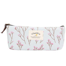 Floral Pencil Case Countryside Style Fabric Stocking Filler Wallet Student Pen Storage Bag Gift PUO88