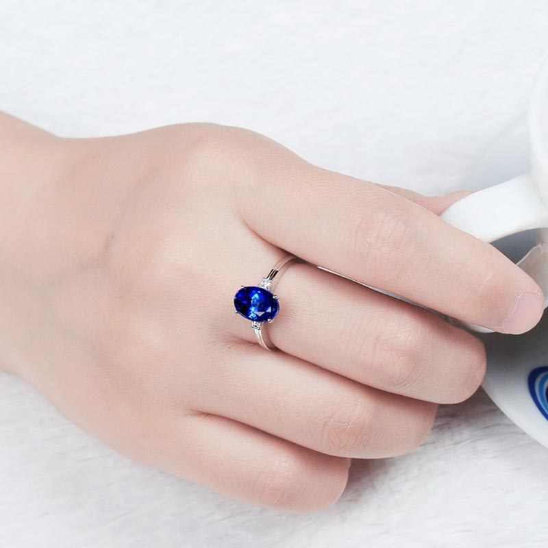 Bague Ringen כסף 925 טבעת עם סגלגל כחול ספיר אבן לנשים אירוסין טבעת כסף אישה מסיבת אבני חן תכשיטים