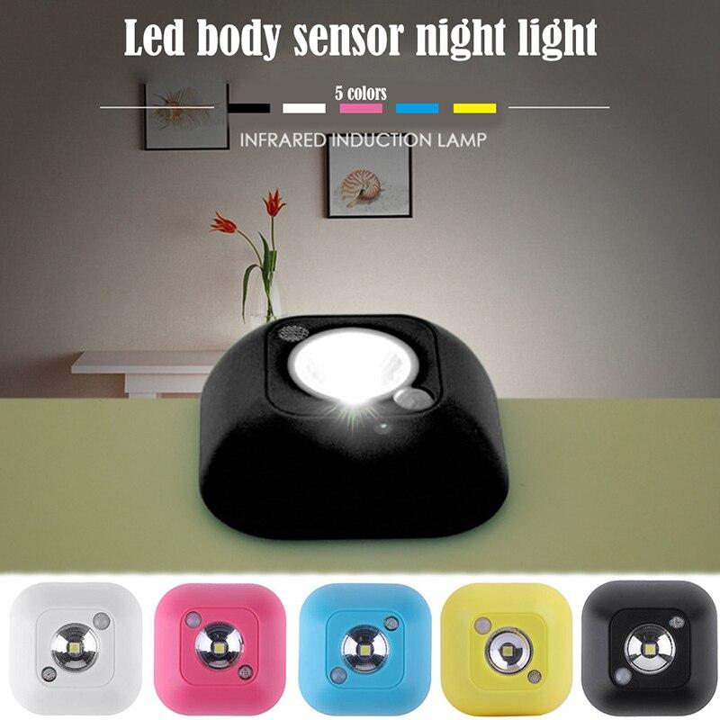 Mini LED Body Sensor Night Lamp Novelty Light Control Wireless Infrared Motion For Bedroom Bathroom Hallway Stair Cabinet