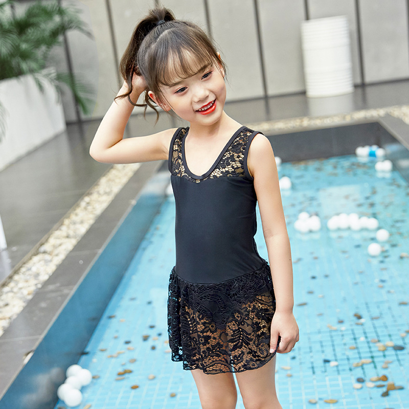 Korean-style INS GIRL'S KID'S Swimwear Cute Small CHILDREN'S Princess Baby One-piece Lace Dress-Hot Springs Swimwear Immortal