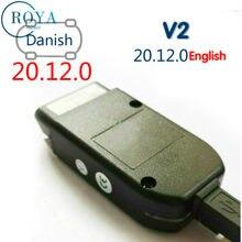2020 obd 2 v2 interface usb carro diagnóstico cabo 20.12.0 inglês dinamarquês russo alemão francês itália atmega162 chip