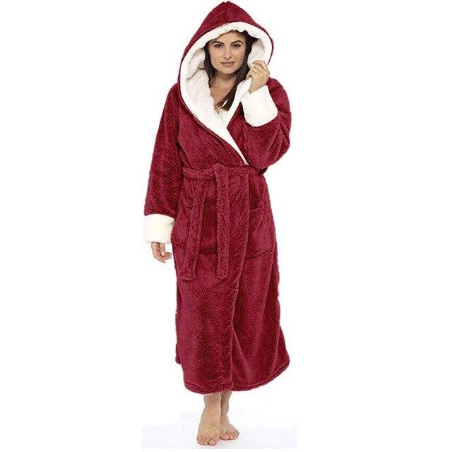 Women Winter Thermal Long Bathrobe Lovers Thick Warm Coral Fleece Kimono Bath Robe Plus Size Nightgowns Bridesmaid Dressing G#g2 4