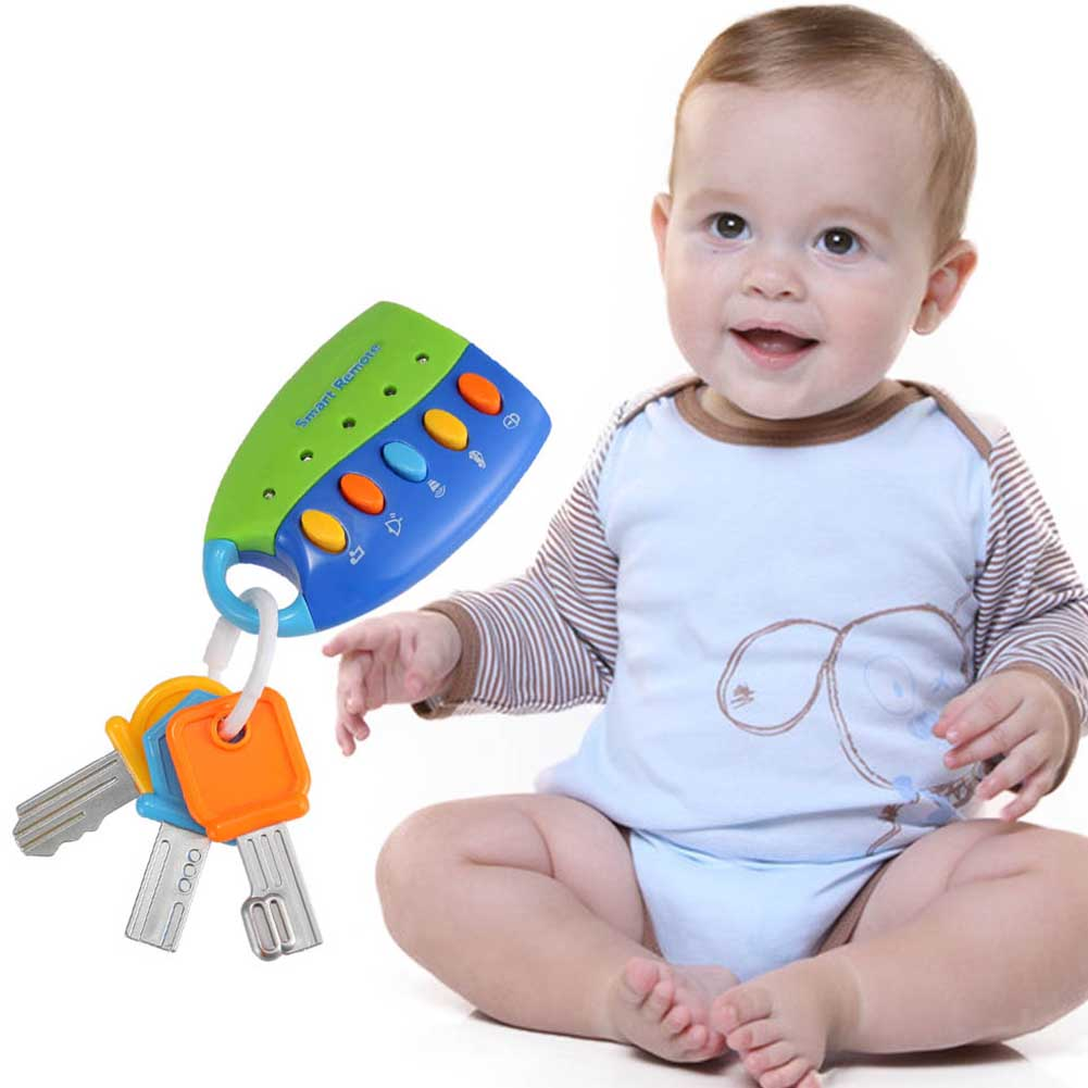Cartoon Baby Kids Musical Smart Remote Car Key Toy Car Voices Pretend Play Toys Hot Sales