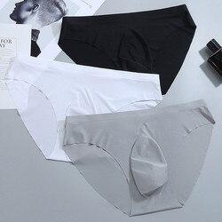 2021 marca ultra-fino gelo de seda gay sexy roupa interior transparente masculino cuecas tamanho grande sem costura cuecas masculinas