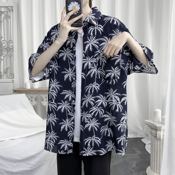 Summer Flower Shirt Men's Fashion Hawaiian Shirt Loose Casual Shirt Men Streetwear Wild Short-sleeved Shirts Mens M-5XL summer new short sleeved shirt men fashion print casual hawaiian shirt man streetwear trend wild hip hop loose camo shirt m xl