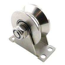 1pack u type stainless steel pulley block mute bearings groove