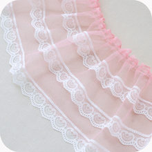 17cm wide color mesh stitching white ribbon pleated tulle lace