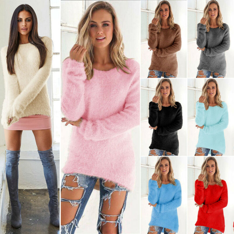 Women Plus Size Long Sleeve Pullover Shirt Loose Baggy Casual Tunic Top Jumper